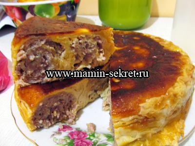 как приготовить ленивый пирог с мясом в мультиварке