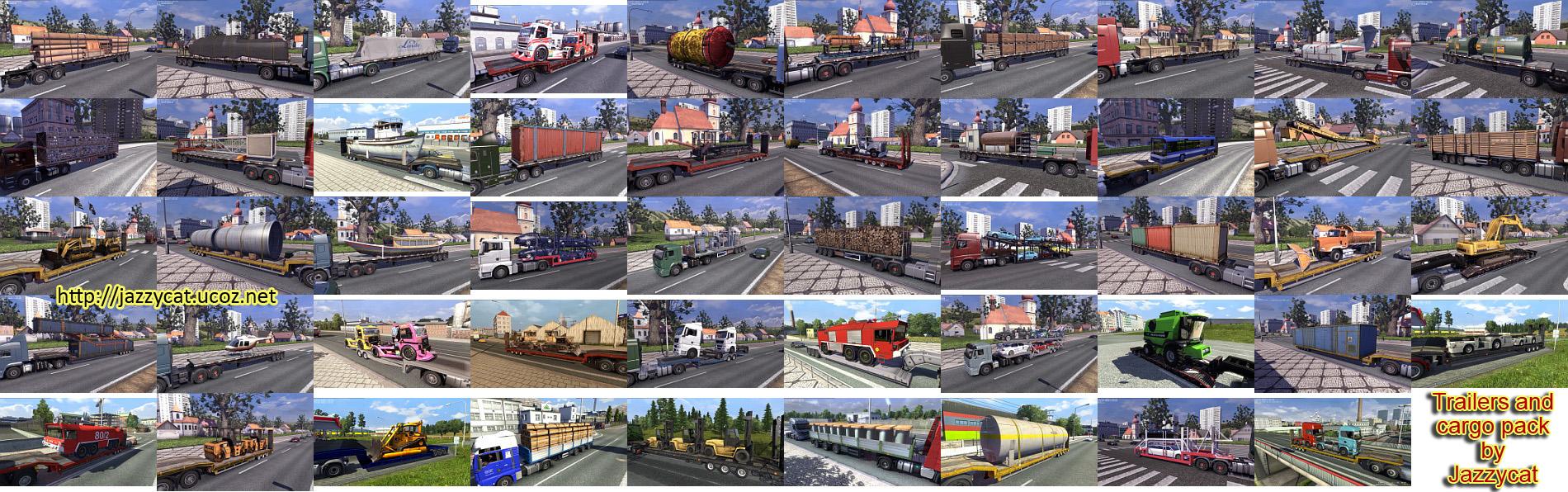 Euro Truck Simulator 2 Пак прицепов и грузов v2.1.1 Trailers and Carg